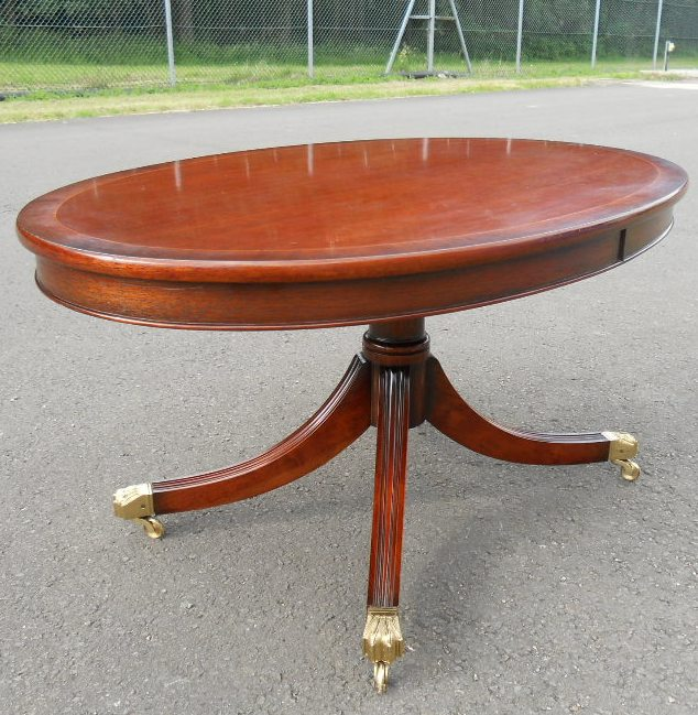 Oval Mahogany Pedestal Coffee Table By Charles Barr